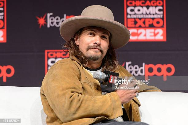 Jason Momoa attends a panel during C2E2 Chicago Comics and Entertainment Expo at McCormick Place on April 25 2015 in Chicago Illinois