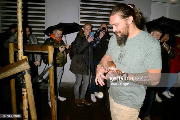 Jason Momoa attends the 'Aquaman' Meet And Greet At Forbidden Planet on November 27 2018 in London England