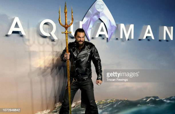 Jason Momoa attends the 'Aquaman' world premiere at Cineworld Leicester Square on November 26 2018 in London England