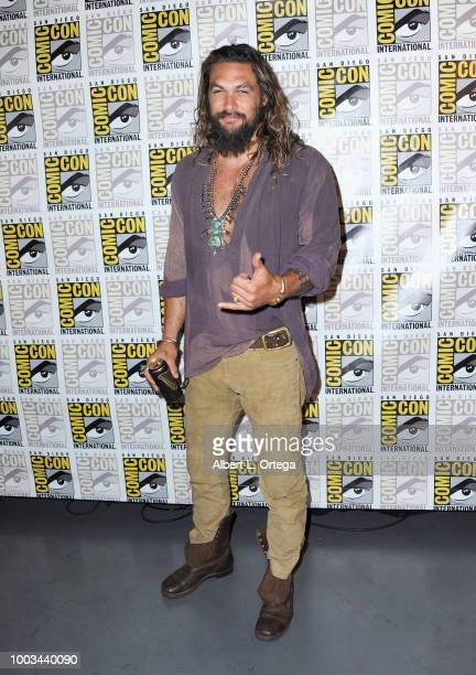 Jason Momoa attends the Warner Bros 'Aquaman' theatrical panel during ComicCon International 2018 at San Diego Convention Center on July 21 2018 in...
