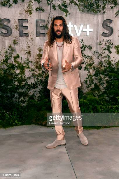 """Jason Momoa attends the world premiere of Apple TV+'s """"See"""" at Fox Village Theater on October 21, 2019 in Los Angeles, California."""