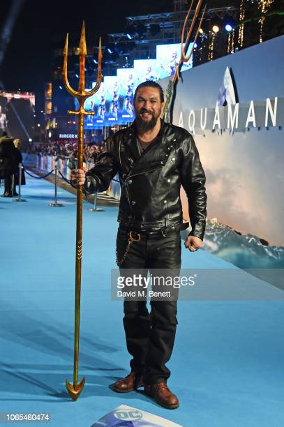 Jason Momoa attends the World Premiere of Aquaman at Cineworld Leicester Square on November 26 2018 in London England