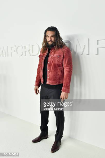 Jason Momoa attends Tom Ford Autumn/Winter 2020 Runway Show at Milk Studios on February 07 2020 in Los Angeles California