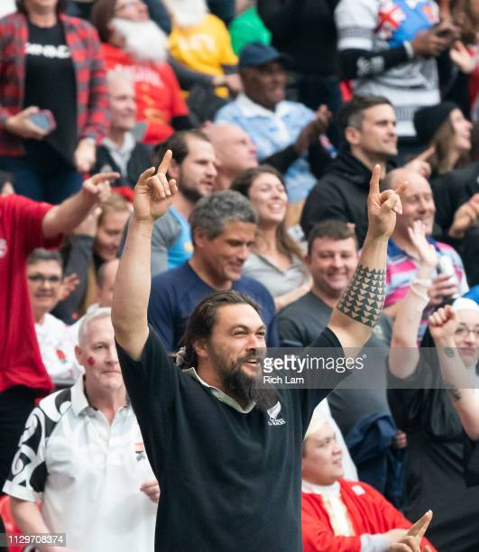 Jason Momoa celebrates New Zealand's victory over Argentina on Day 2 of the HSBC Canada Sevens at BC Place on March 10 2019 in Vancouver Canada