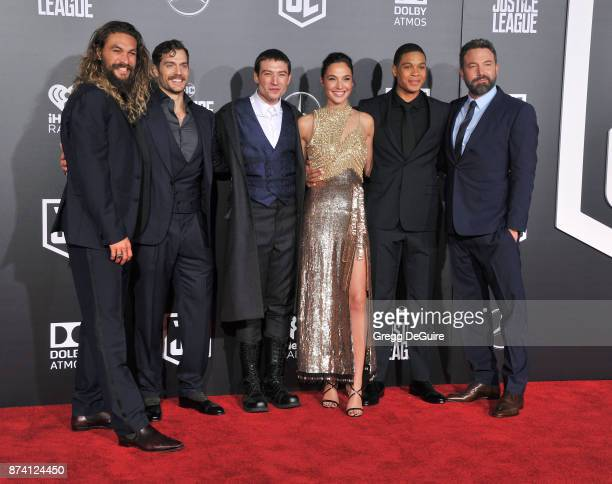 Jason Momoa Henry Cavill Ezra Miller Gal Gadot Ray Fisher and Ben Affleck arrive at the premiere of Warner Bros Pictures' Justice League at Dolby...