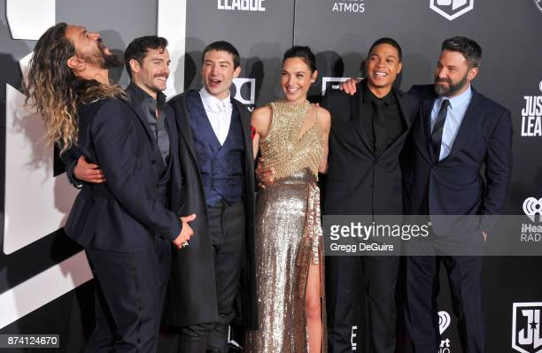 Jason Momoa Henry Cavill Ezra Miller Gal Gadot Ray Fisher and Ben Affleck arrive at the premiere of Warner Bros Pictures' 'Justice League' at Dolby...