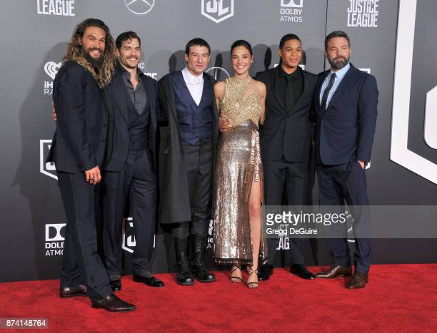 """Jason, Momoa, Henry Cavill, Ezra Miller, Gal Gadot, Ray Fisher and Ben Affleck arrive at the premiere of Warner Bros. Pictures' """"Justice League"""" at..."""
