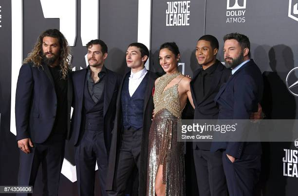 Jason Momoa Henry Cavill Ezra Miller Gal Gadot Ray Fisher and Ben Affleck arrives at the Premiere Of Warner Bros Pictures' 'Justice League' at Dolby...