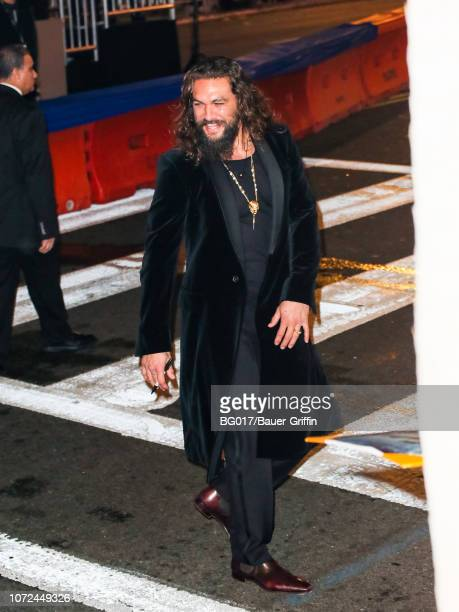 Jason Momoa is seen arriving at the premiere of Warner Bros Pictures' 'Aquaman' at the Chinese Theatre on December 12 2018 in Los Angeles California