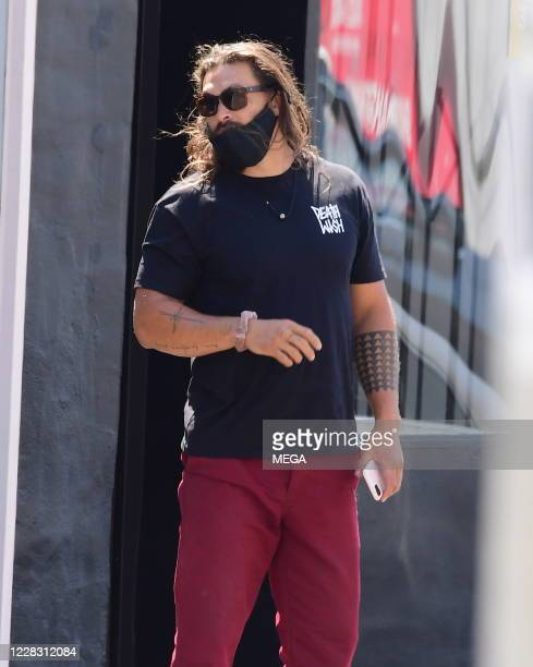 Jason Momoa is seen at a juice bar on September 1 2020 in West Hollywood California