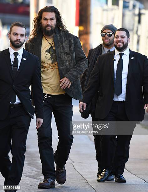Jason Momoa is seen at Jimmy Kimmel Live on January 26 2017 in Los Angeles California