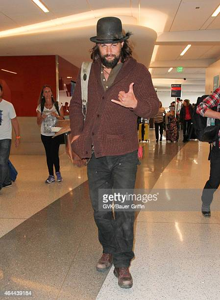 Jason Momoa is seen at LAX on February 25 2015 in Los Angeles California