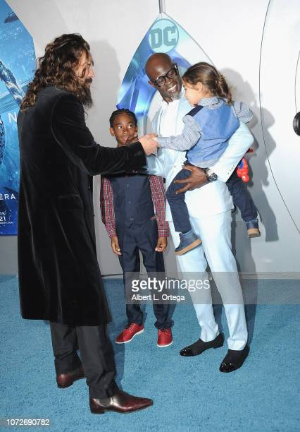 Jason Momoa Kenzo Lee Hounsou and Djimon Hounsou arrives for the Premiere Of Warner Bros Pictures' Aquaman held at TCL Chinese Theatre on December 12...