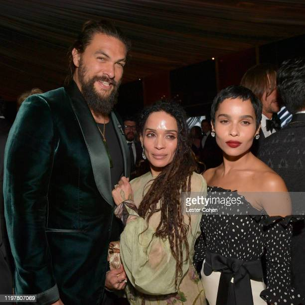 Jason Momoa Lisa Bonet and Zoë Kravitz attend The 2020 InStyle And Warner Bros 77th Annual Golden Globe Awards PostParty at The Beverly Hilton Hotel...