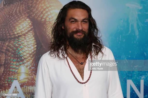 Jason Momoa poses at the Australian premiere of Aquaman on December 18 2018 in Gold Coast Australia
