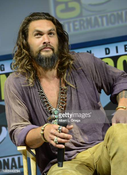 Jason Momoa speaks onstage at the Warner Bros 'Aquaman' theatrical panel during ComicCon International 2018 at San Diego Convention Center on July 21...