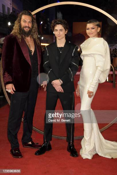 """Jason Momoa, Timothee Chalamet and Zendaya attend the UK Special Screening of """"Dune"""" at the Odeon Luxe Leicester Square on October 18, 2021 in..."""