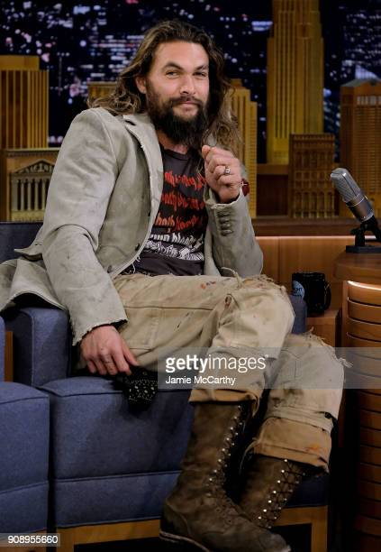 Jason Momoa visits 'The Tonight Show Starring Jimmy Fallon' at Rockefeller Center on January 22 2018 in New York City