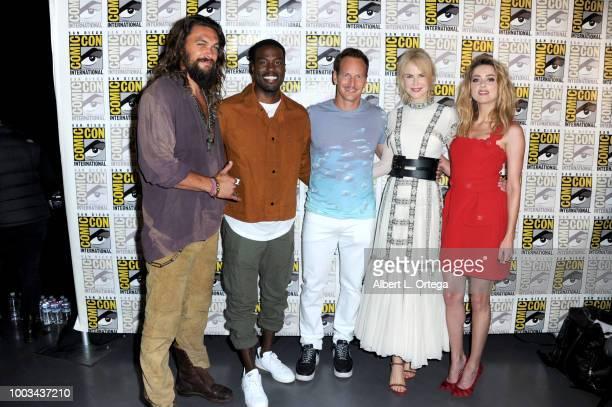 Jason Momoa Yahya AbdulMateen II Patrick Wilson Nicole Kidman and Amber Heard attend the Warner Bros 'Aquaman' theatrical panel during ComicCon...