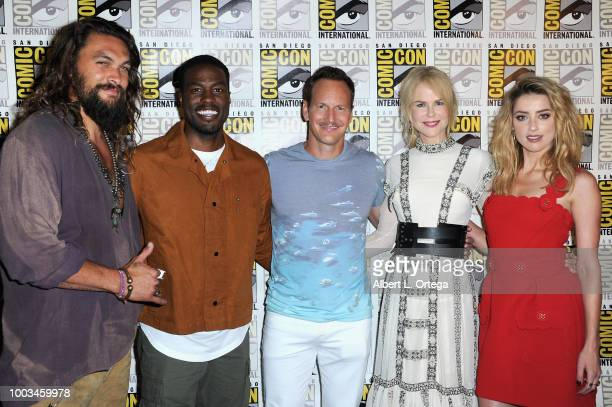 Jason Momoa Yahya AbdulMateen II Patrick Wilson Nicole Kidman and Amber Heard pose at the Warner Bros 'Aquaman' theatrical panel during ComicCon...