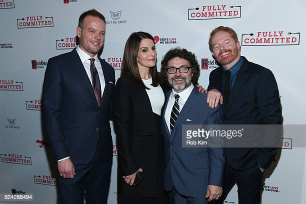 Jason Moore Tina Fey Jeff Richmond and Jesse Tyler Ferguson attend the opening night afterparty for 'Fully Committed' at Eventi Hotel on April 25...