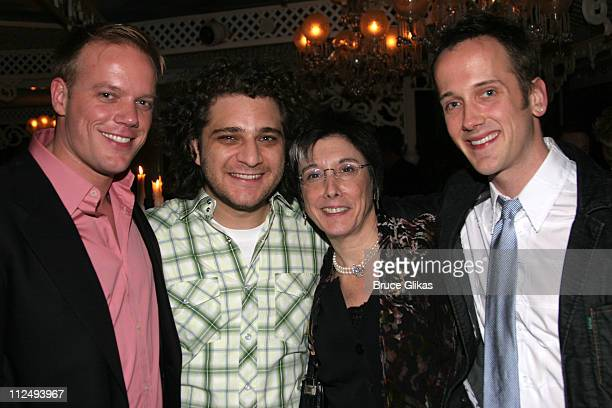 Jason Moore with Avenue Q associates Jeff Marx Robyn Goodman producer and Jeff Whitty