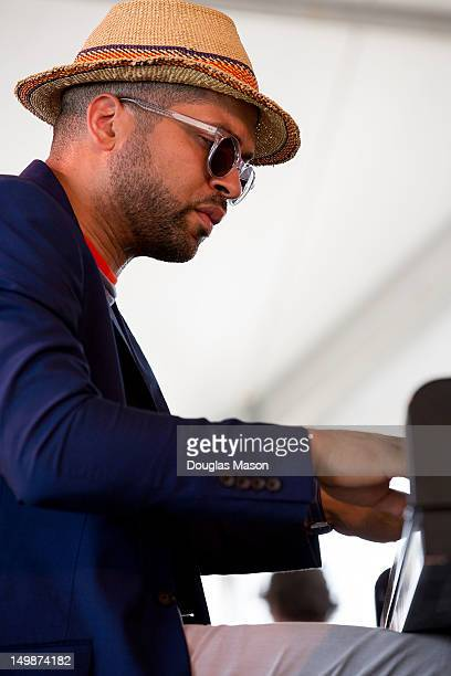 Jason Moran and The Bandwagon perform during the 2012 Newport Jazz Festival at Fort Adams State Park on August 5 2012 in Newport Rhode Island