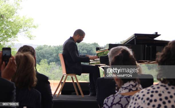 Jason Moran artistic director for jazz at the the John F Kennedy Center for the Performing Arts is seen performing at the Welcome Pavilion of the...