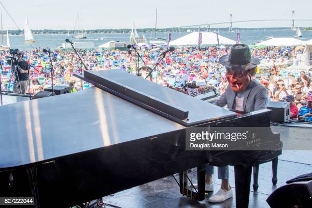 Jason Moran plays a Fats Waller Dance Party during the Newport Jazz Festival 2017 presented by Natixis at Fort Adams State Park on August 6 2017 in...