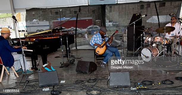 Jason Moran Tarus Mateen and Nasheet Waits Jason Moran and The Bandwagon performs during the 2012 Newport Jazz Festival at Fort Adams State Park on...