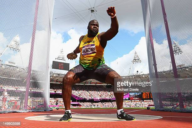 Jason Morgan of Jamaica competes in the Men's Discus Throw qualification on Day 10 of the London 2012 Olympic Games at the Olympic Stadium on August...