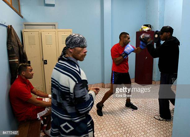 Jason Morris warms up in the changing room of the Tony Mundine Gym for his bout in Night Of The Black Stars on February 13 2009 in the Redfern...