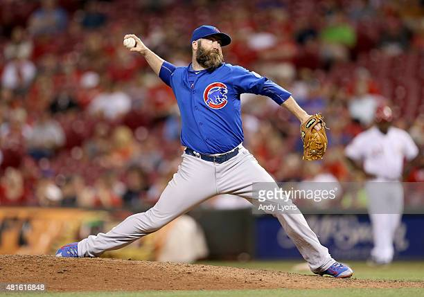 Jason Motte of the Chicago Cubs throws a pitchin the 9th inning against the Cincinnati Reds during the second game of a doubleheader at Great...