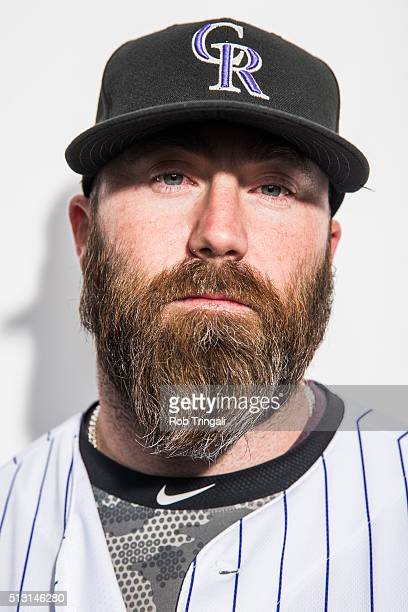Jason Motte of the Colorado Rockies poses for a portrait at the Salt River Fields at Talking Stick on February 29 2016 in Sottsdale Arizona
