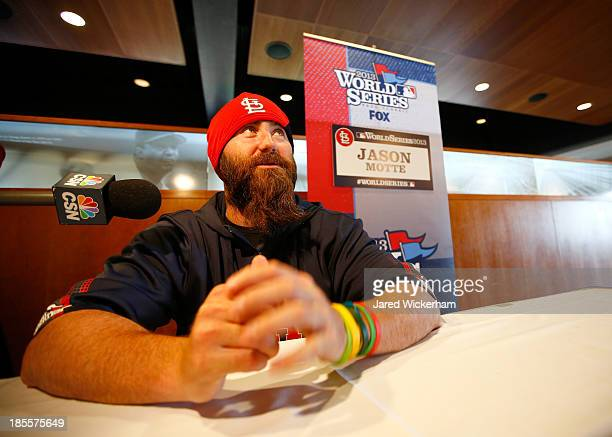 Jason Motte of the St Louis Cardinals answers questions during 2013 World Series Media Day at Fenway Park on October 22 2013 in Boston Massachusetts...