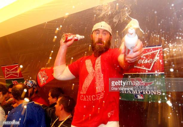 Jason Motte of the St Louis Cardinals celebrates after the Cardinals defeat the Los Angeles Dodgers 90 in Game Six of the National League...