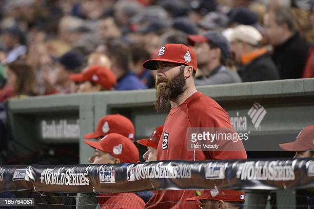Jason Motte of the St Louis Cardinals looks on from the dugout during Game 2 of the 2013 World Series against the Boston Red Sox Fenway Park on...