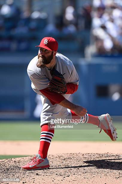 Jason Motte of the St Louis Cardinals pitches against the Los Angeles Dodgers at Dodger Stadium on June 29 2014 in Los Angeles California
