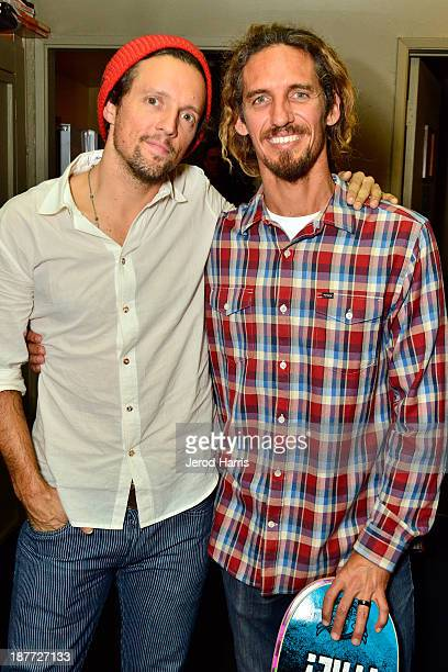 Jason Mraz and Rob Machado backstage at the 2nd Annual Rob Machado Foundation benefit concert at the Belly Up Tavern on November 11 2013 in Solana...