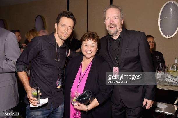 Jason Mraz Mary Jo Mennella and Don Schlitz pose backstage during the Songwriters Hall of Fame 49th Annual Induction and Awards Dinner at New York...