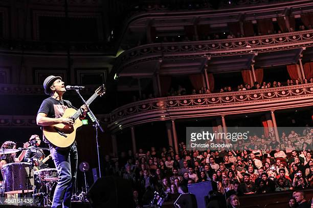 Jason Mraz performs on stage at Royal Albert Hall on September 26 2014 in London United Kingdom