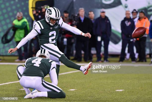 Jason Myers of the New York Jets in action against the Houston Texans at MetLife Stadium on December 15 2018 in East Rutherford New Jersey