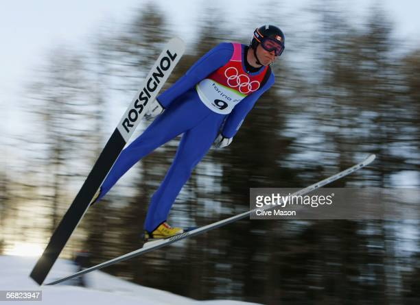 Jason Myslicki of Canada completes jump 2 in the Nordic Combined Normal Hill event on Day 1 of the 2006 Turin Winter Olympic Games on February 11...
