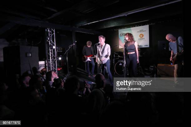 Jason Narducy and Mac McCaughan of Superchunk special guest Sabrina Ellis and Jim Wilbur of Superchunk perform onstage at the Music Opening Party...