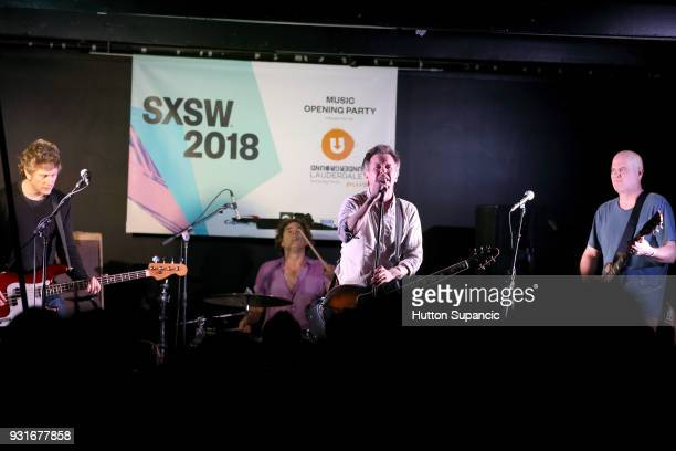Jason Narducy Jon Wurster Mac McCaughan and Jim Wilbur of Superchunk perform onstage at the Music Opening Party during SXSW at The Main on March 13...