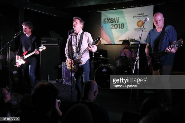 Jason Narducy Mac McCaughan Jon Wurster and Jim Wilbur of Superchunk perform onstage at the Music Opening Party during SXSW at The Main on March 13...