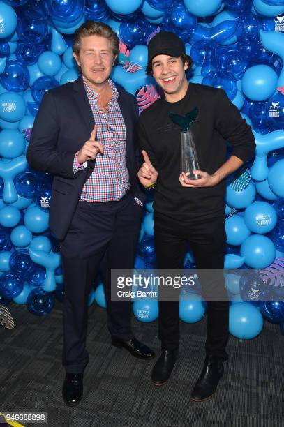 Jason Nash David Dobrik pose with the award for Best Podcast for 'Views' during the 10th Annual Shorty Awards at PlayStation Theater on April 15 2018...