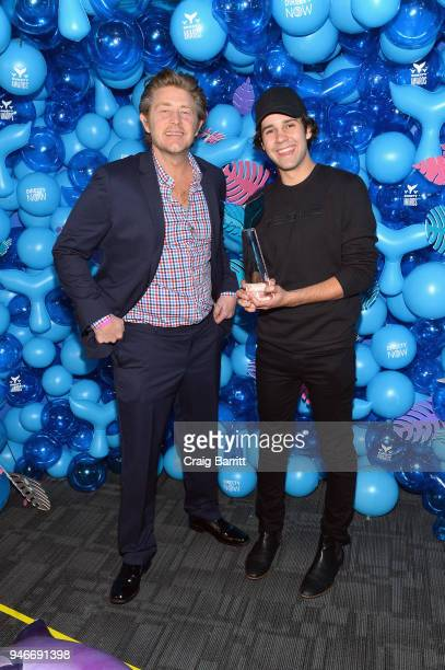 Jason Nash David Dobrik pose with the award for Best Podcast for Views during the 10th Annual Shorty Awards at PlayStation Theater on April 15 2018...