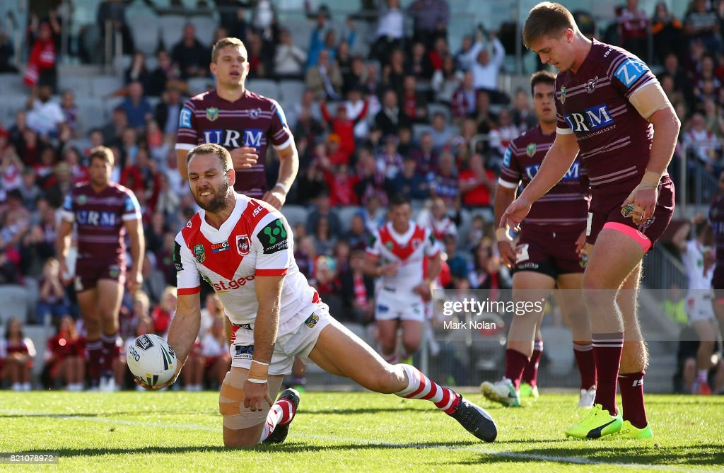 Jason Nightingale of the Dragons celebrates after scoring a try during the round 20 NRL match between the St George Illawarra Dragons and the Manly Sea Eagles at WIN Stadium on July 23, 2017 in Wollongong, Australia.