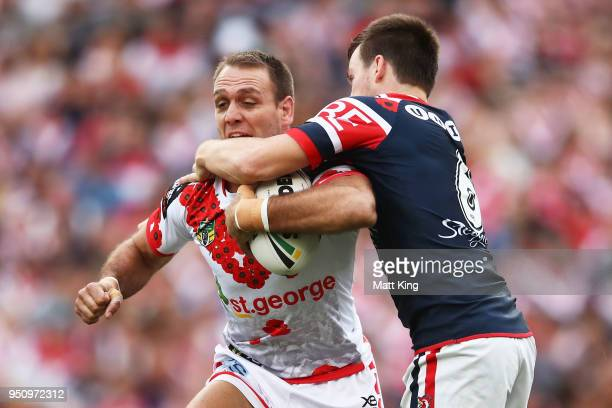 Jason Nightingale of the Dragons is tackled by Luke Keary of the Roosters during the round eight NRL match between the St George Illawara Dragons and...